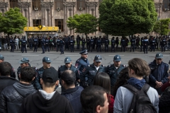 Police officers line up against the demonstrators who protests because of the election of the prime minister. April 28, 2018 Yerevan-Armenia.