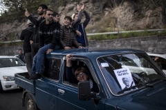 The demonstrator come to the streets to celebrate the resigning of prime minister Serzh Sargsyan.April 22, 2018, Yerevan-Armenia.