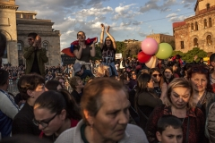 People are celebrating the prime minister Serzh Sargsyan resign at Republic square. This was the country's biggest political upheaval since 1991. April 23, 2018, Yerevan-Armenia.