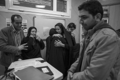 The family of the Brain dead person learns of his diagnosis and start mourning his death.From left : His son in-law, Sister, mother, daughter, two sons.In a hospital in Tehran.21 Jan 2014.